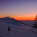 Balade en raquettes à neige coucher du soleil à la Tête des Faux